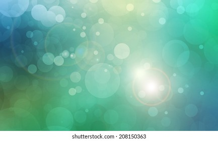 blue green bokeh background with white lights and lens flare