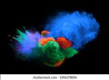 Blue, green and orange powder explosion on black background. Freeze motion of powder exploding. 3D illustration