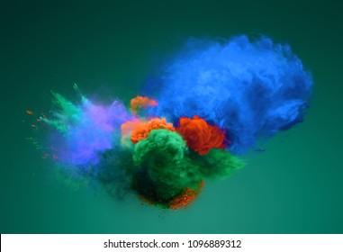 Blue, green and orange powder explosion. Freeze motion of powder exploding. 3D illustration
