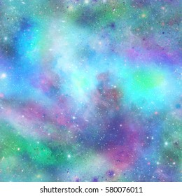 Blue and Green Outer Space Galaxy Print   Seamless Pattern in Repeat