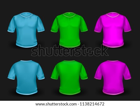366b2847 Blue green pink and purple empty t-shirt template with shaow on dark  background.