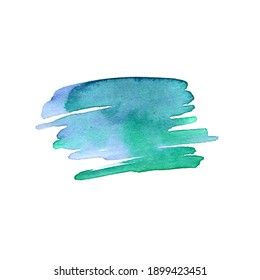 Blue green stain of watercolor paint. Artistic wash, blot and splashes. Aquarelle background with paper texture. Abstract shape with brush strokes. Watercolor
