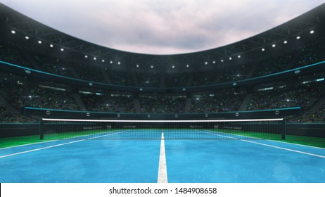 blue and green tennis court stadium with fans at daytime, player's front view, professional tennis sport 3D illustration background