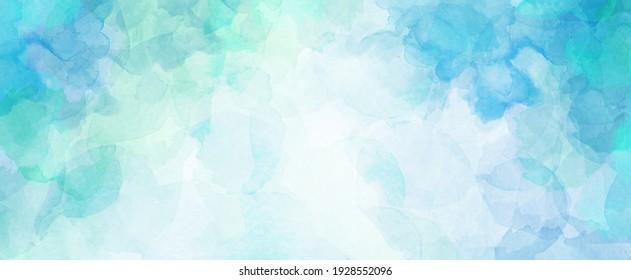 Blau-grüner Aquarell-Hintergrund mit weißbewölktem Zentrum und abstrakter Aquarellfarbenstruktur in Strandfarben
