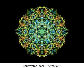 Blue, green and yellow abstarct flame mandala flower, ornamental floral round pattern on black background.