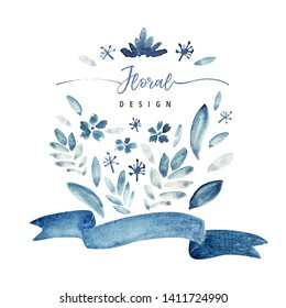 Blue greeting card with abstract floral elements and curved ribbon. Loose watercolor style. Sample text. White background