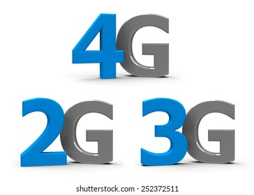 Blue and grey 4g, 3g, 2g symbols, icons or buttons isolated on white background, three-dimensional rendering