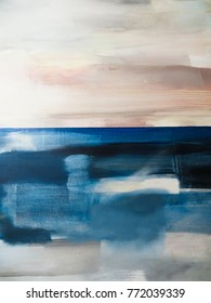 Blue and Grey Abstract Art Painting background. Painting Blue Sea
