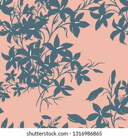 Blue grey graphics flowers on light orange background seamless pattern for all prints on hand darwing style.