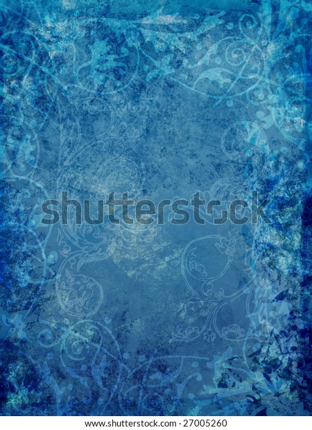 Blue grunge background with ornate swirls