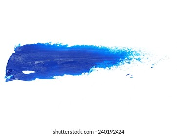 blue grunge brush strokes oil paint isolated on white background
