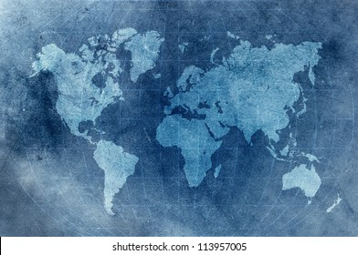 blue grunge world map