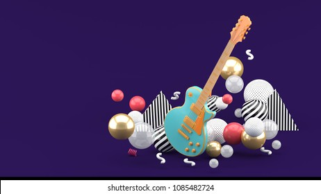 Blue guitar among colorful balls on a purple background. - 3d render.