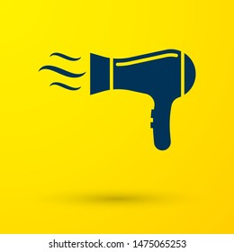 Blue Hair dryer icon isolated on yellow background. Hairdryer sign. Hair drying symbol. Blowing hot air