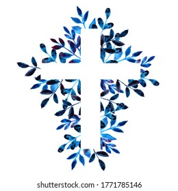 Blue hand drawn floral watercolor cross on white background. Religious foliage illustration for EasterChristian, Baptism, and First Communion Designs. Frame.