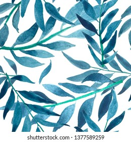 Blue Hand Drawn Vintage Wallpaper. Beautiful Spring Background for textile, wrapping paper, fabric, print
