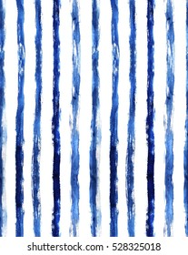 blue hand painted watercolor vertical stripes seamless pattern, grungy background