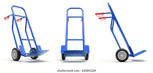 Blue hand truck diferent angle view - 3D illustration