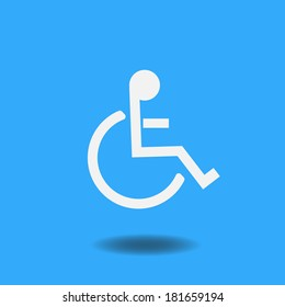 Blue handicap symbol illustration. Vector file available.