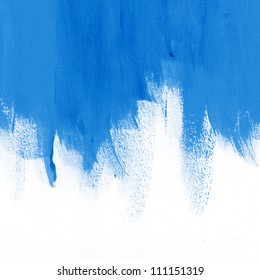 Blue hand-painted brush stroke daub background