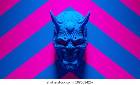 Blue Hannya Sino-Japanese Traditional Theatre Style Mask Mounted with Blue an Pink Chevron Background 3d illustration render