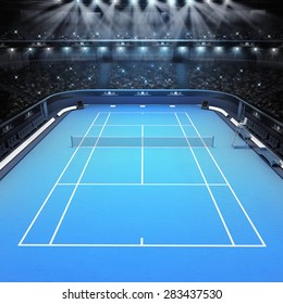 blue hard surface tennis court and stadium full of spectators with spotlights tennis sport theme render illustration background my own design