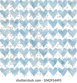 Blue heart background with silver glitter sprinkles