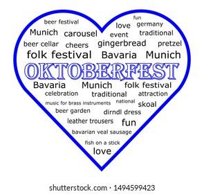 blue Heart with Oktoberfest Wordcloud - illustration