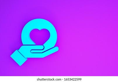 Icono del Corazón Azul en la mano aislado en fondo morado. Símbolo de amor de mano. Concepto de minimalismo. Ilustración 3D