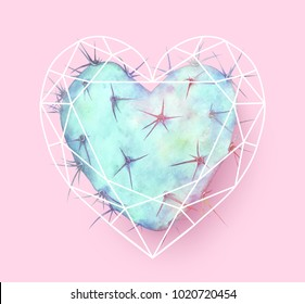Blue heart shaped cactus in polygonal heart. Watercolor hand drawn illustration.