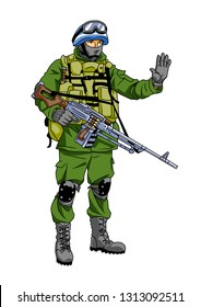 Blue Helmet soldier peacemaker makes a stop sign, illustration, cartoon, clipart