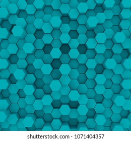 Blue hexagon pattern backgrond. 3d rendering