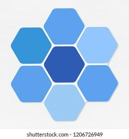 Blue hexagons shaped like a honey comb