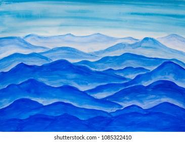 Blue hills, watercolor