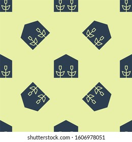 Blue Home greenhouse and plants icon isolated seamless pattern on yellow background.