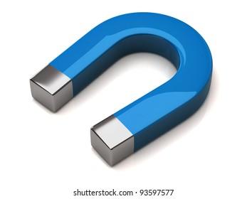 Blue horseshoe magnet