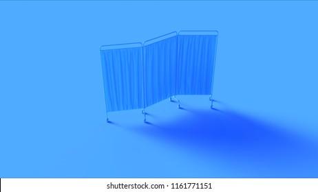 Blue Hospital Privacy Folding Screen 3d illustration 3d rendering