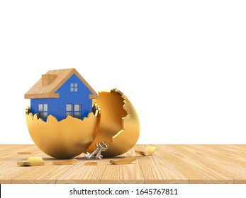 Blue house icon inside on a broken golden Easter egg shell on a wooden floor with space for text on white. 3D illustration