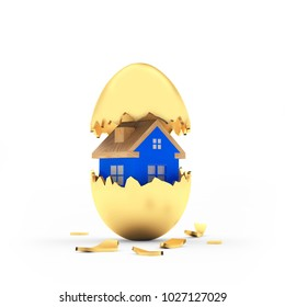 Blue house inside a golden broken Easter egg isolated on white. 3D illustration