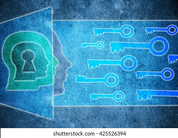 blue human head  with keyhole and keys psychology concept digital illustration