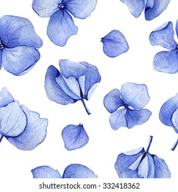 Blue hydrangea watercolor seamless pattern. Flower background design. Hand drawn set of flowers and leaves, may be used as textile design and more. Botanical illustration.
