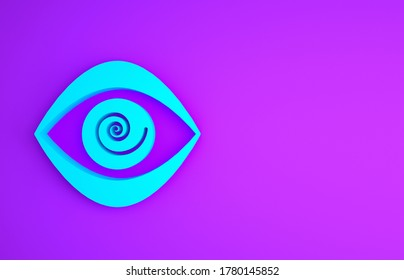 Blue Hypnosis icon isolated on purple background. Human eye with spiral hypnotic iris. Minimalism concept. 3d illustration 3D render