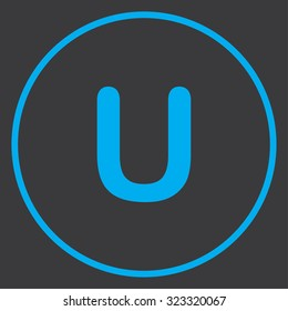 A Blue Icon Isolated on a Grey Background inside a circle - U