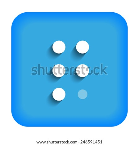 blue icon with the letter q braille