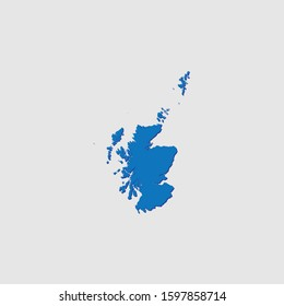 A Blue Illustrated Country Shape with Shadow of Scotland
