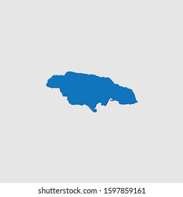 A Blue Illustrated Country Shape with Shadow of Jamaica