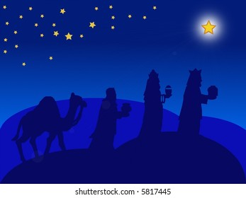 a blue illustration of the Magi for christmas