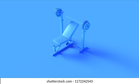 Blue Incline Weight Bench 3d illustration 3d rendering