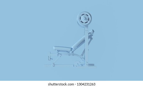 Blue Incline Weight Bench 3d illustration