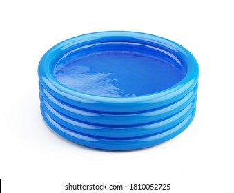 Blue inflatable rubber childrens pool full of water isolated on white. 3d rendering